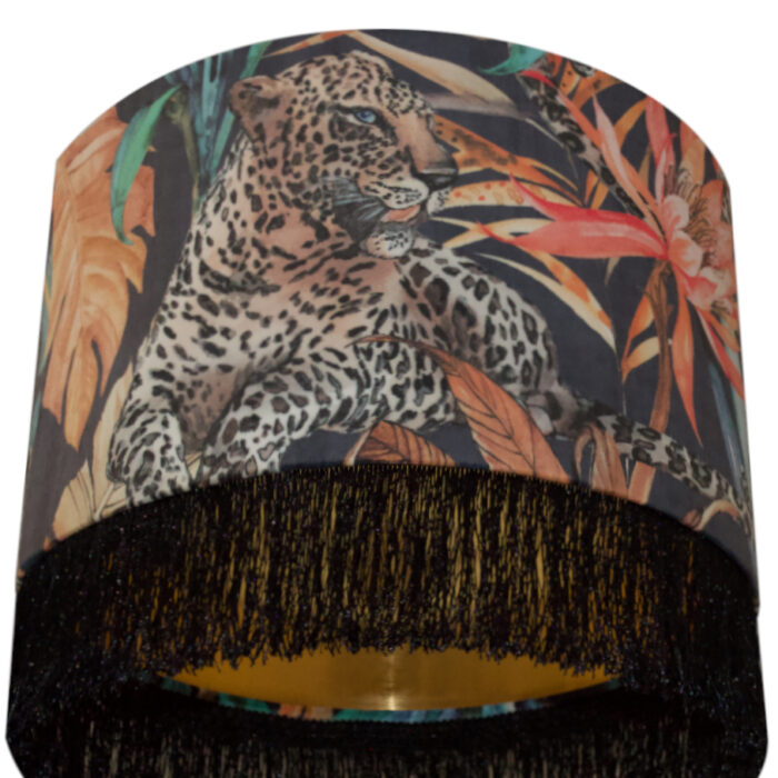 Tropical Leopard Velvet Lampshade with Brushed Gold/Brass Lining and Fringing