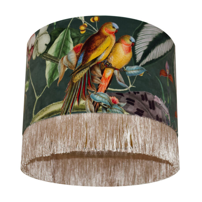 Barbados Love Birds Velvet Lampshade with Brushed Gold/Brass Lining and Fringing