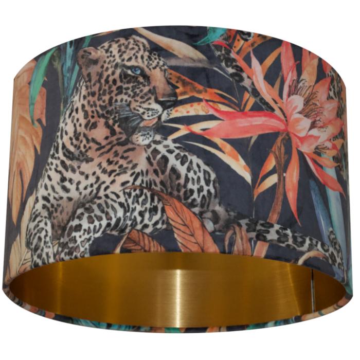 Tropical Leopard Velvet Lampshade with Brushed Gold/Brass Lining