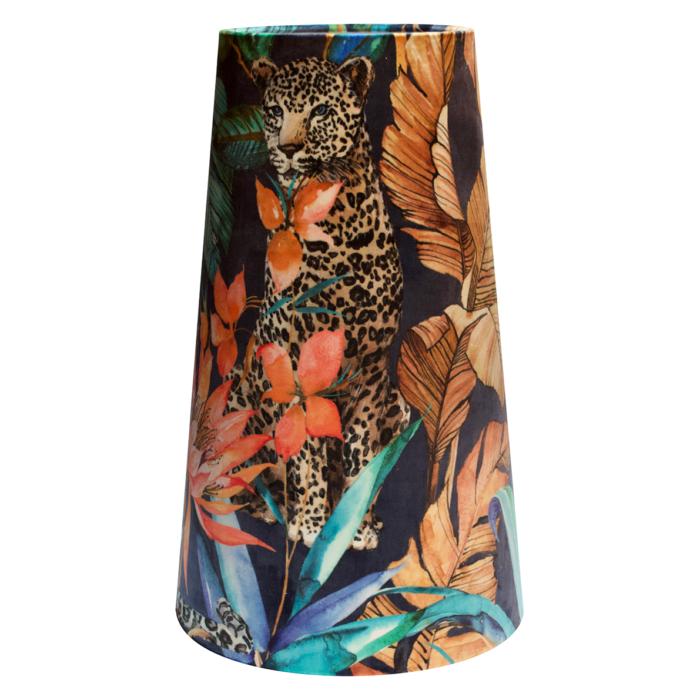 OVERSIZE Tropical Leopard Velvet Cone Lampshade