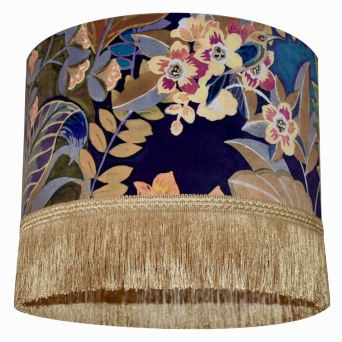 Hidden Paradise Velvet Lampshade with Brushed Gold/Brass Lining and Fringing