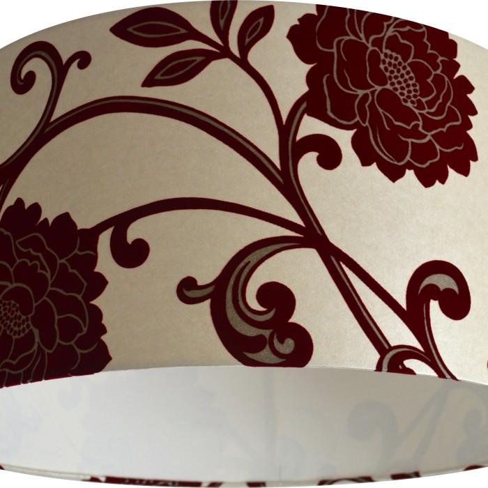 Xx large alanis flock red cream gold wallpaper lampshade - Cream flock wallpaper ...
