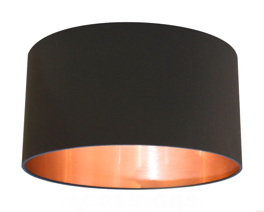 Copper Lined Lamp Shade Black Cotton Lampshade with a Brushed Copper Effect Lining