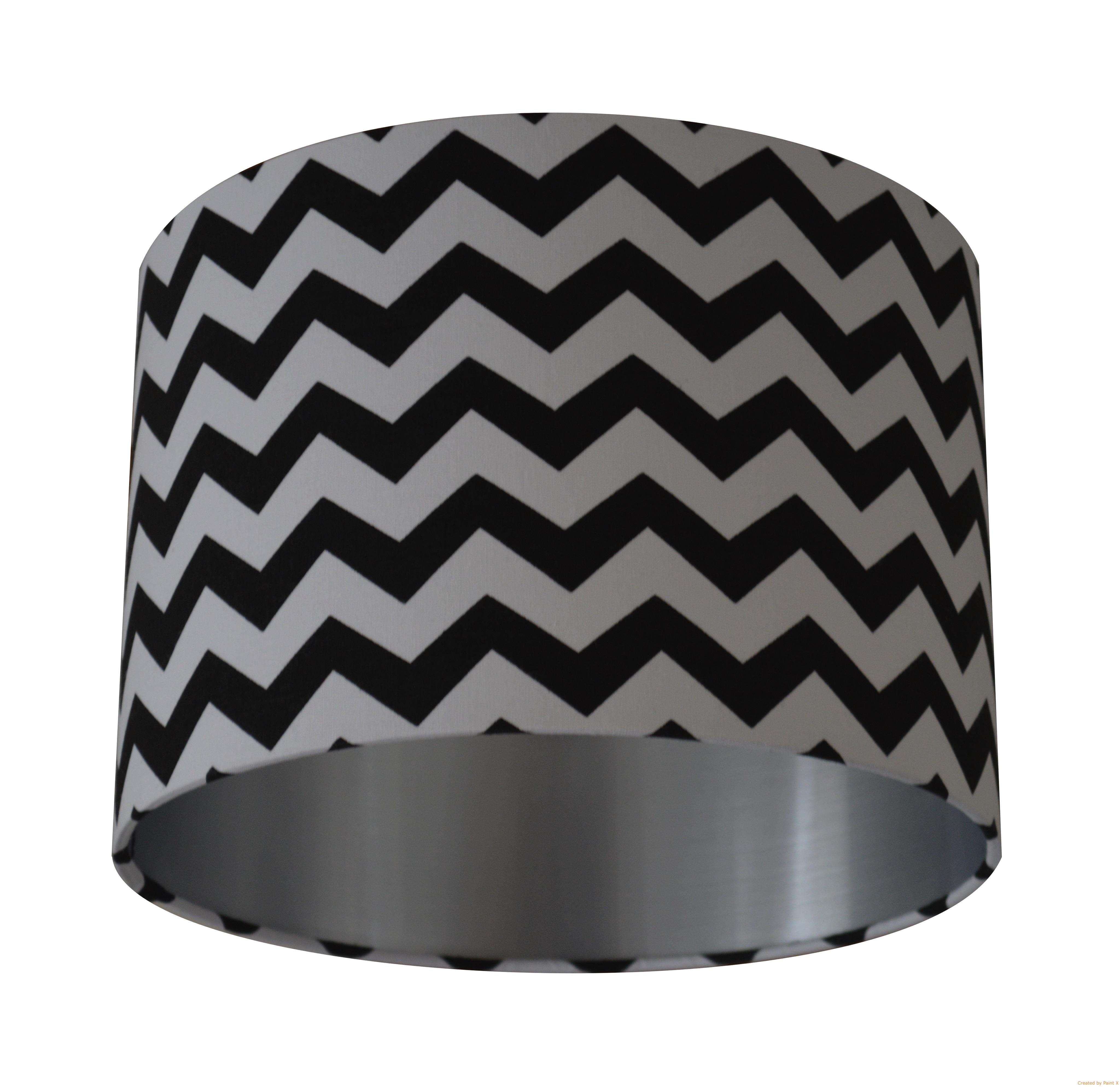 Chevron Zig Zag Black & White Fabric with Brushed Silver Lining ...