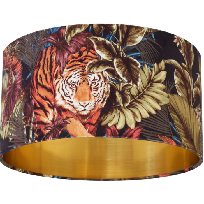 Prowling Bengal Tiger Velvet Lampshade AMAZON - Brushed Gold/Brass, Silver or Copper Lining