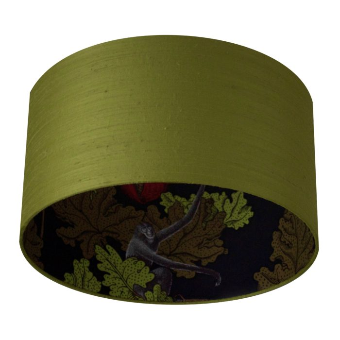Green Silk and Patterned Monkey Lining