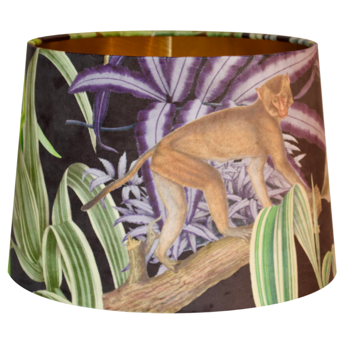 Barbados Carnival Velvet Monkey Lampshade - Brushed Gold/Brass, Silver or Copper Lining