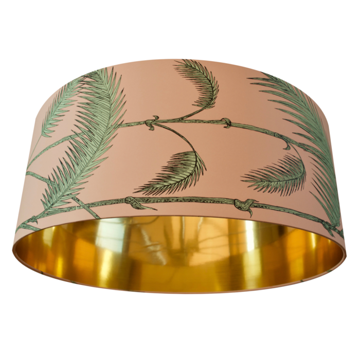 Cole & Son Palm Leaves Mint/Pink Wallpaper Lampshade - CHOOSE METALLIC LINING