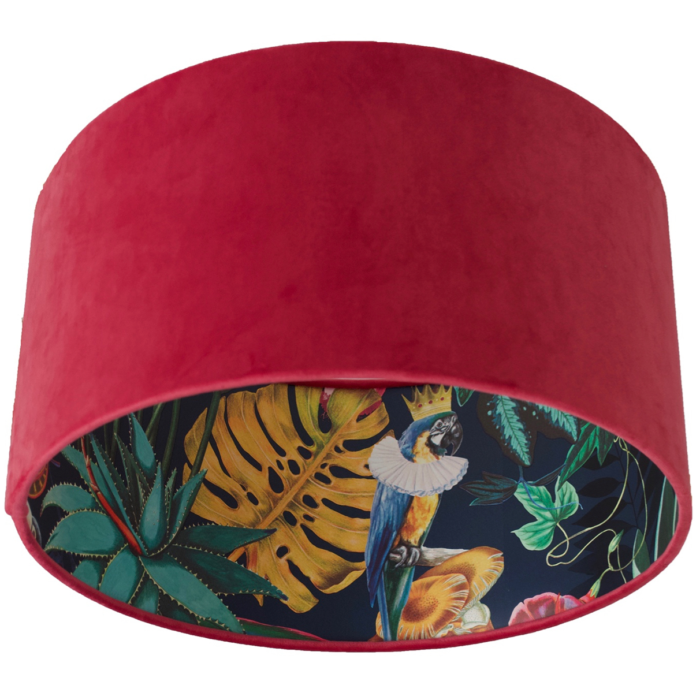 Velvet Lampshade Lined with Wonderland Tropical Navy Wallpaper - CHOOSE OUTSIDE COLOUR
