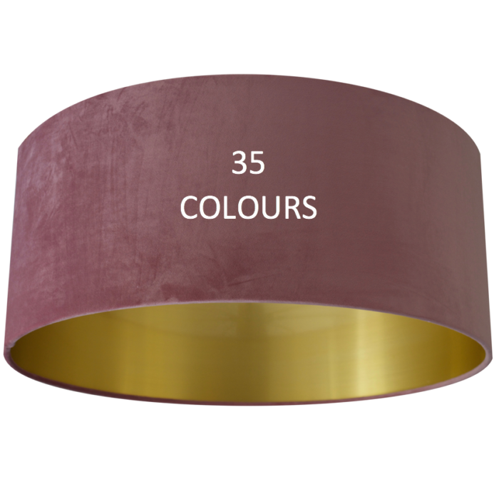 OVERSIZE Velvet Lampshade with Brushed Gold/Brass, Copper or Silver Lining - CHOOSE OUTSIDE COLOUR
