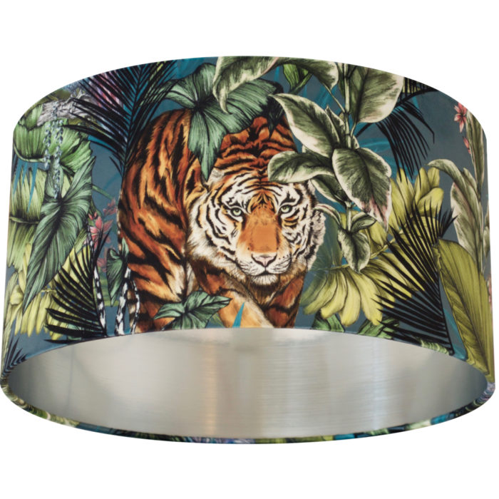 Prowling Bengal Tiger Velvet Lampshade TWILIGHT - Brushed Silver, Gold/Brass or Copper Lining
