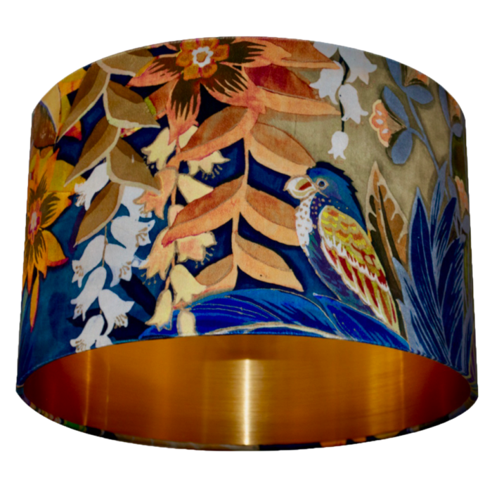 Hidden Paradise Velvet Lampshade - Brushed Gold/Brass, Silver or Copper Lining