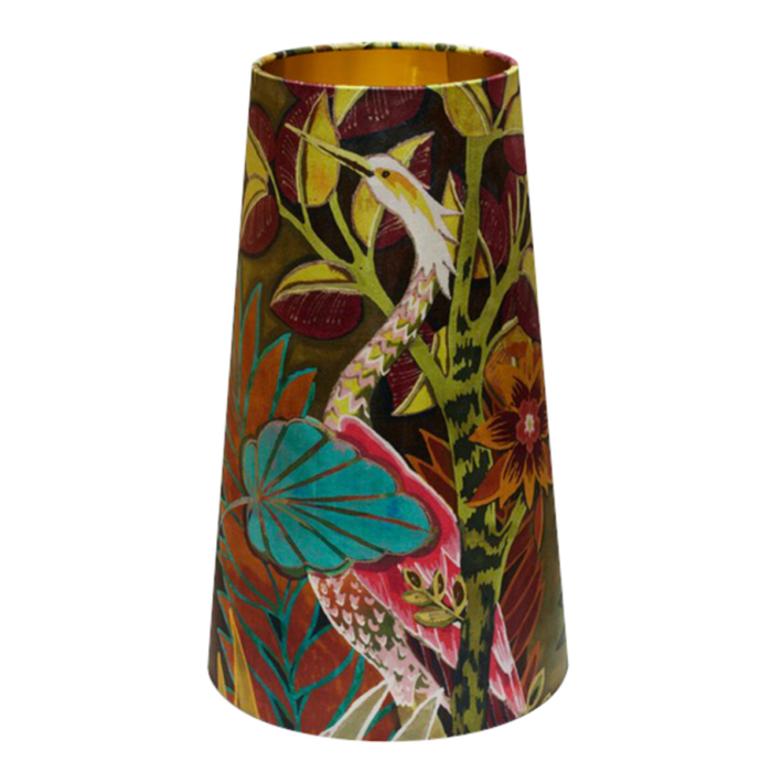OVERSIZE Hidden Paradise Tropical Velvet Cone Lampshade CALYPSO – Brushed Gold/Brass or Silver Lining