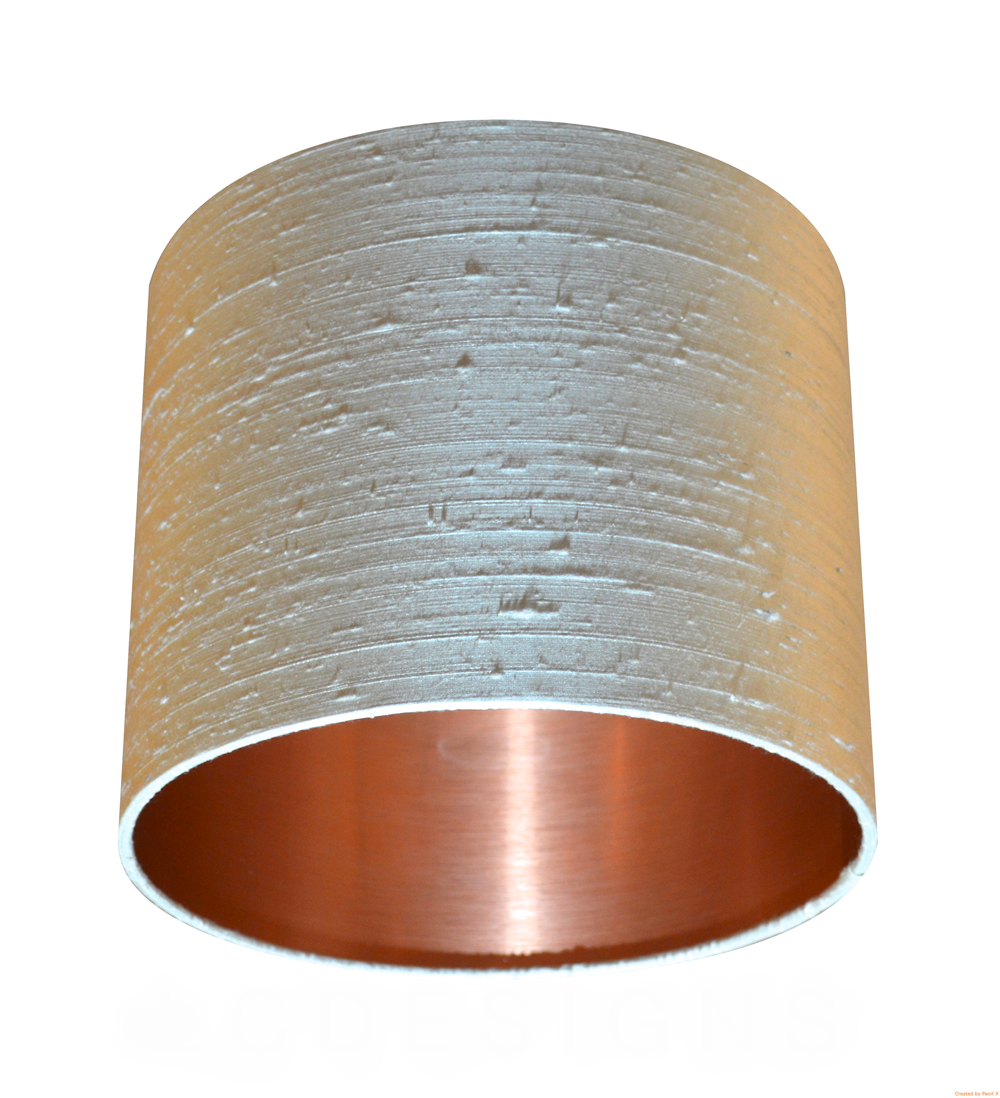 Copper Lined Lamp Shade Oyster Dupion/Raw Silk Lampshade with Brushed Copper Effect Lining